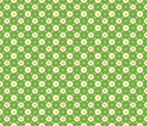 Daisies and Dots - Chlorophyll fabric by anntuck on Spoonflower - custom fabric