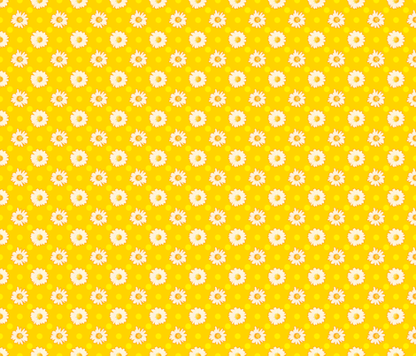 Daisies_Yellow_with_Yellow_Dots fabric by anntuck on Spoonflower - custom fabric