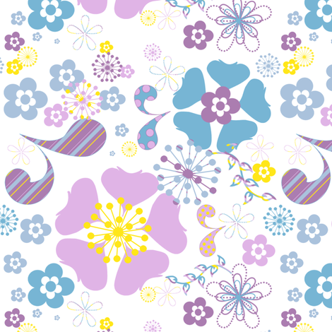 Summer Floral Fun! - © PinkSodaPop 4ComputerHeaven.com  fabric by pinksodapop on Spoonflower - custom fabric