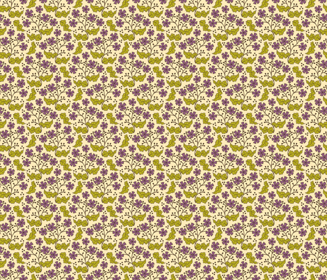 A Few of My Favorite Things - Purple Floral Leaf  fabric by sarahb on Spoonflower - custom fabric