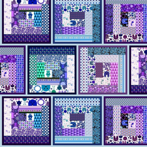 Cheater Log Cabin Quilt - Monsters, Robots and Bikes! - Blues and Purples