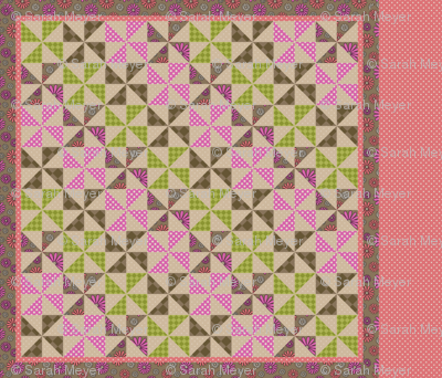 I Heart Daisies cheater quilt panel