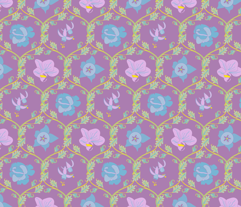 Summer Flowers - Diamond Leaf Scrolls - Purple Ground