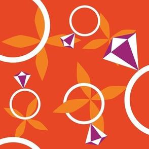Rings on orange background