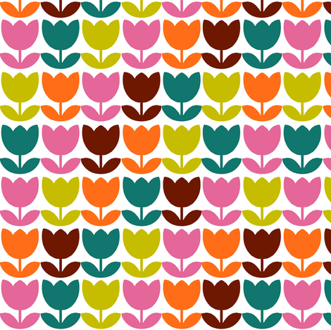 Tulip_Repeat_Brown fabric by aliceapple on Spoonflower - custom fabric