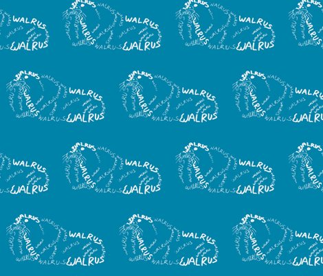 Walrus Calligram fabric by blue_jacaranda on Spoonflower - custom fabric