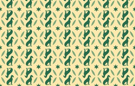 Green Greyhounds gg4 ©2010 by Jane Walker fabric by artbyjanewalker on Spoonflower - custom fabric