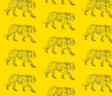 Tiger Calligram fabric by blue_jacaranda on Spoonflower - custom fabric