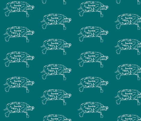 Turtle Calligram fabric by blue_jacaranda on Spoonflower - custom fabric