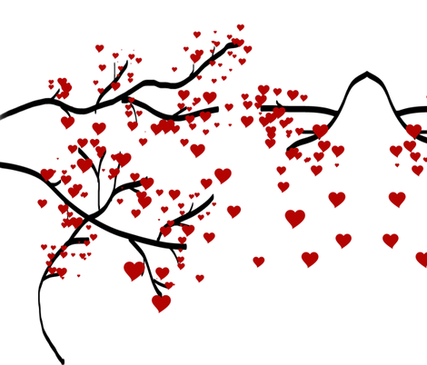 Black Branch Heart Tree fabric by audarrt on Spoonflower - custom fabric