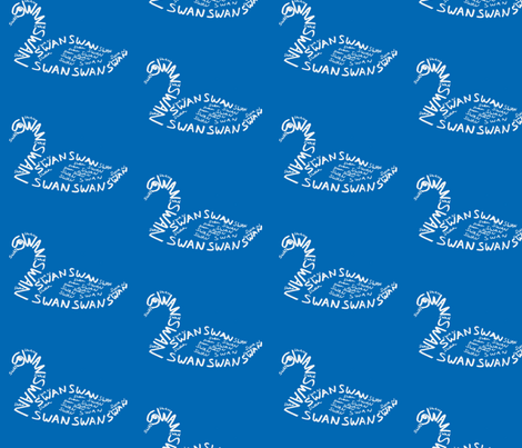 Swan Calligram fabric by blue_jacaranda on Spoonflower - custom fabric