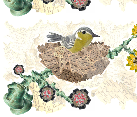Bird in Nest Collage No. 1.2 fabric by shelly_1 on Spoonflower - custom fabric