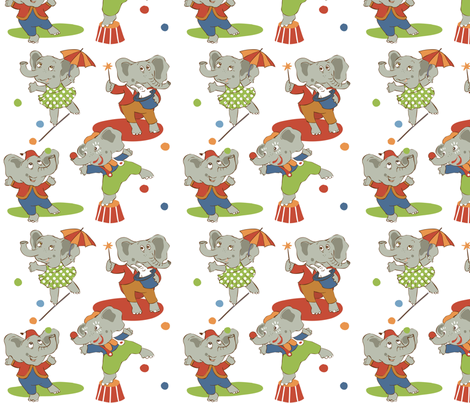 cirkus elefanter fabric by peikonpoika{by}brunou on Spoonflower - custom fabric