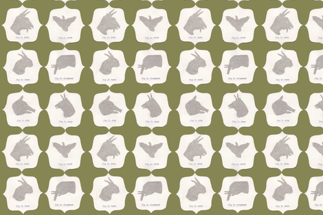 Hand Shadow Animals in Green fabric by sparegus on Spoonflower - custom fabric