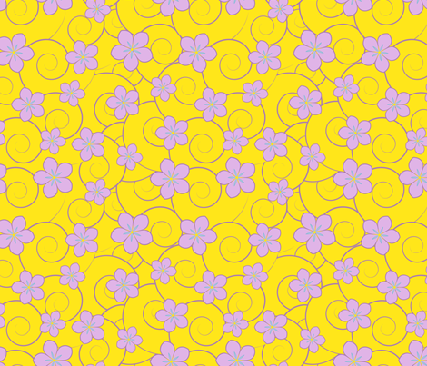 purple flowers yellow swirls fabric by suziedesign on Spoonflower - custom fabric