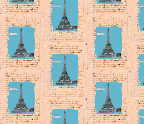 French Homework Dreams Paris fabric by karenharveycox on Spoonflower - custom fabric