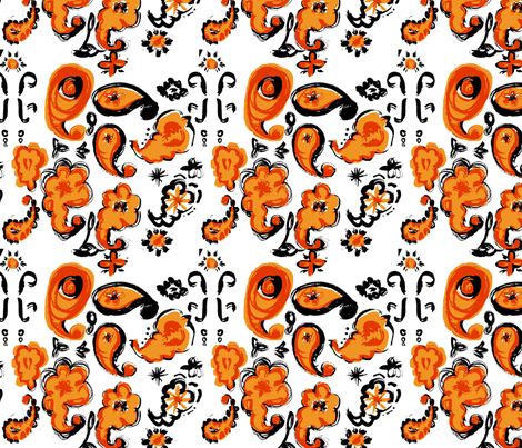 "C'EST LA VIVâ""¢ PAISLEY CRAZY Collection_PAISLEY TANGERINE  fabric by cest_la_viv on Spoonflower - custom fabric"