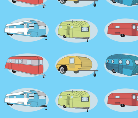Retro Travel in Bright Aqua  fabric by bella_modiste on Spoonflower - custom fabric