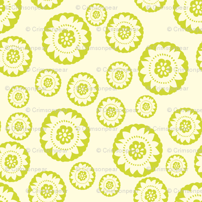 Lime green medallion small