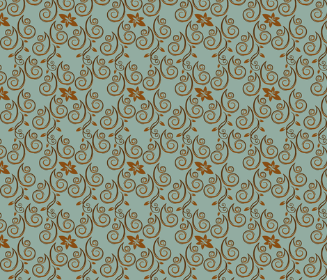 Chocolate mint floral fabric by artbybaha on Spoonflower - custom fabric