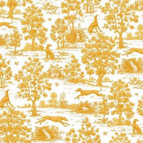 Gold Greyhound Toile ©2010 by Jane Walker