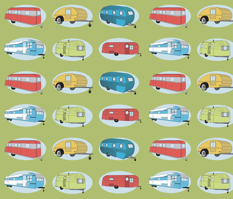 Retro Travel in Green  fabric by bella_modiste on Spoonflower - custom fabric