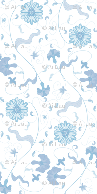Floral Sprays - Blue on White