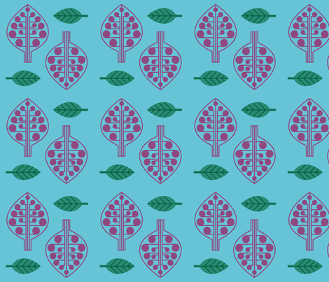 Berry Trees and Leaves fabric by can-do-girl-fabric on Spoonflower - custom fabric
