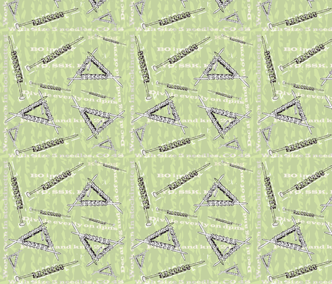 K 2 together green needles  fabric by grammak on Spoonflower - custom fabric