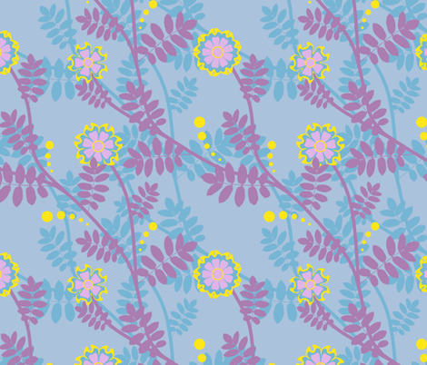 Plants with Flowers fabric by lilichi on Spoonflower - custom fabric