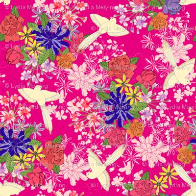 Japanese Birds In Pink