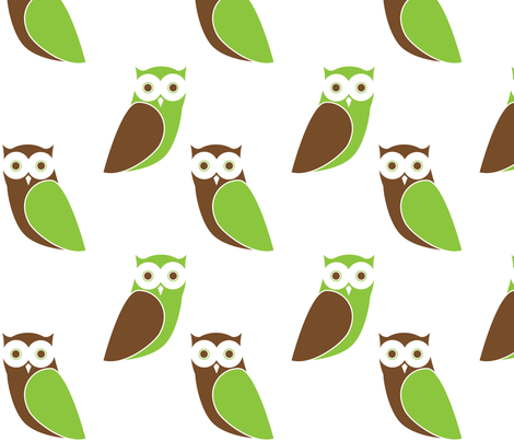 Modern Owl Friends - White Background fabric by hapagirldesigns on Spoonflower - custom fabric