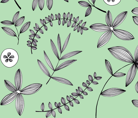 Botanical Drawn - mint