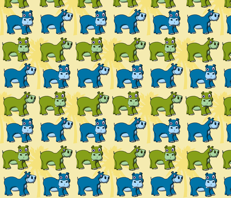 Little Hippos fabric by yuleane on Spoonflower - custom fabric