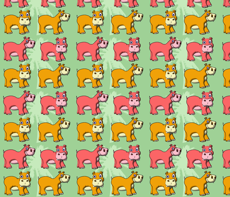 Little Hippos in the Jungle fabric by yuleane on Spoonflower - custom fabric