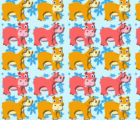 Funny Hippos fabric by yuleane on Spoonflower - custom fabric