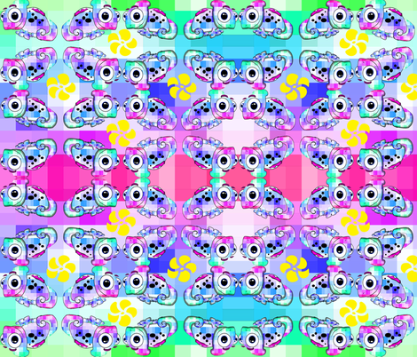 Psychedelic Chameleon fabric by yuleane on Spoonflower - custom fabric