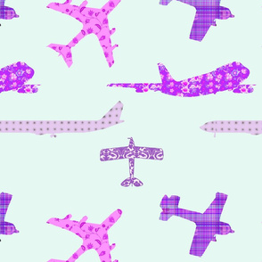 Purple Pattern Planes Fat Quarter