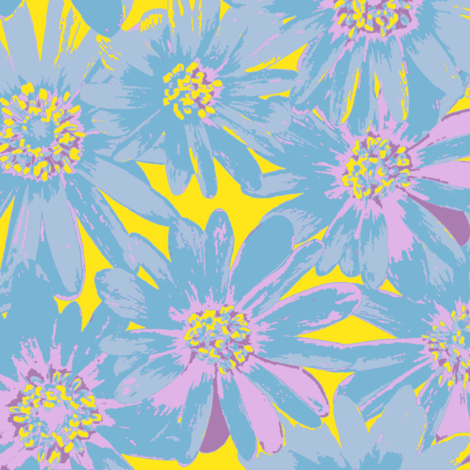 groovy blue flowers fabric by weavingmajor on Spoonflower - custom fabric