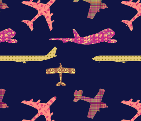 NAVY_Orange_Planes_Fat_Quarter fabric by nicoletta on Spoonflower - custom fabric