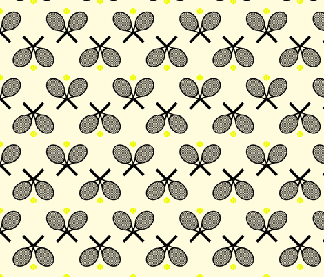 Tennis Racquets Black fabric by freshlypieced on Spoonflower - custom fabric