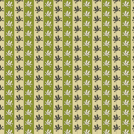 Bunny Goth Pinstripe Green fabric by voodoorabbit on Spoonflower - custom fabric