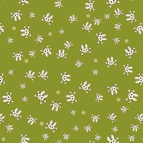 Bunny Goth Scatter Green fabric by voodoorabbit on Spoonflower - custom fabric
