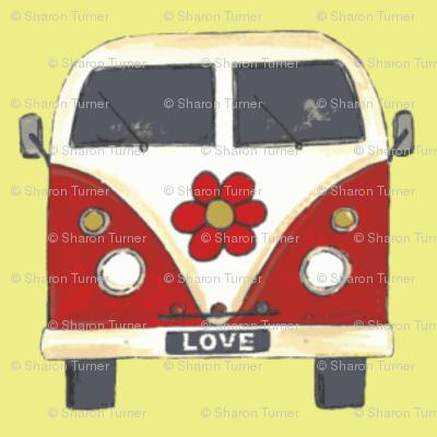 yellow flower camper van