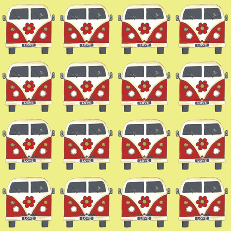 yellow flower camper van fabric by scrummy on Spoonflower - custom fabric