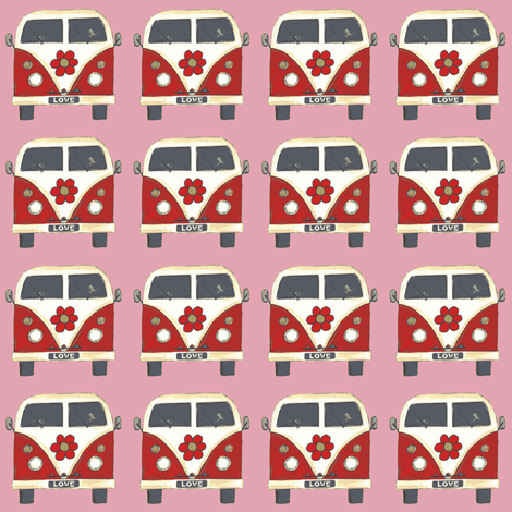 pink flower camper van fabric by scrummy on Spoonflower - custom fabric