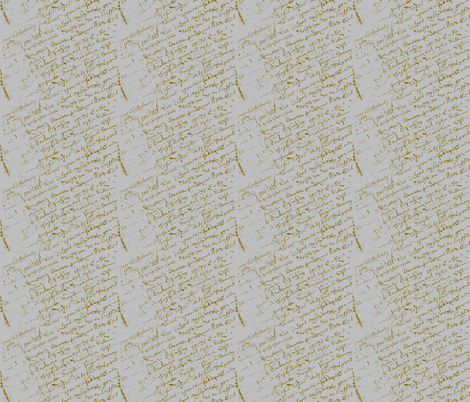 French Script Grey background fabric by karenharveycox on Spoonflower - custom fabric