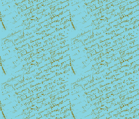 French Script Aqua fabric by karenharveycox on Spoonflower - custom fabric