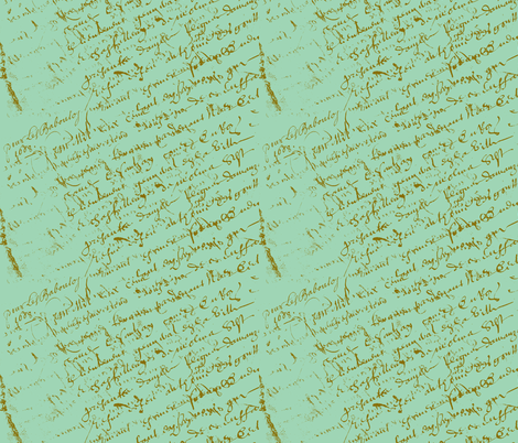 French Script Pistachio fabric by karenharveycox on Spoonflower - custom fabric
