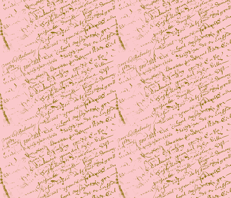 French Script Pink fabric by karenharveycox on Spoonflower - custom fabric
